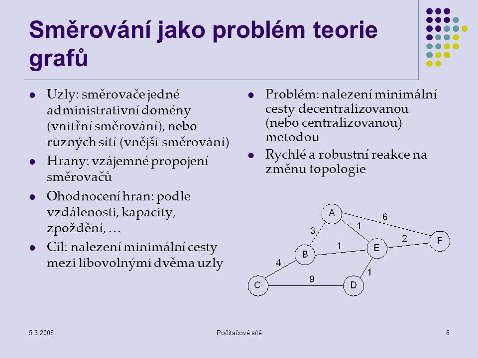Směrování jako problém teorie grafů