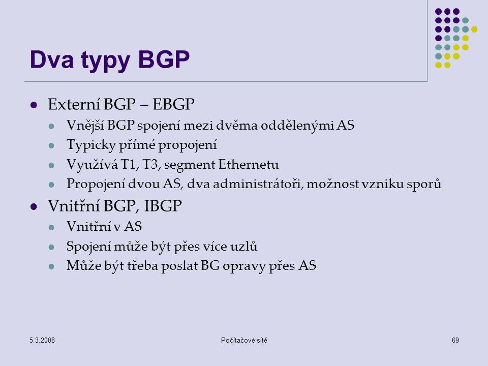 Dva typy BGP Externí BGP – EBGP Vnitřní BGP, IBGP