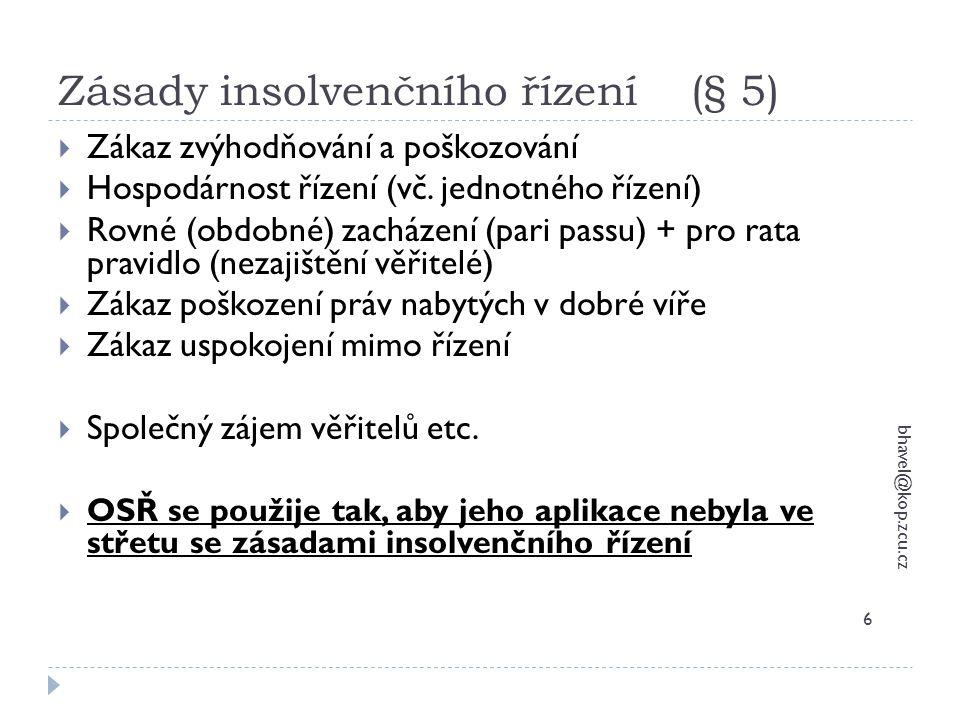 Zásady insolvenčního řízení (§ 5)