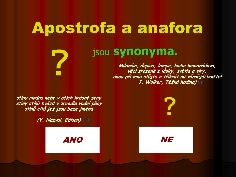 Apostrofa a anafora jsou synonyma. ANO NE