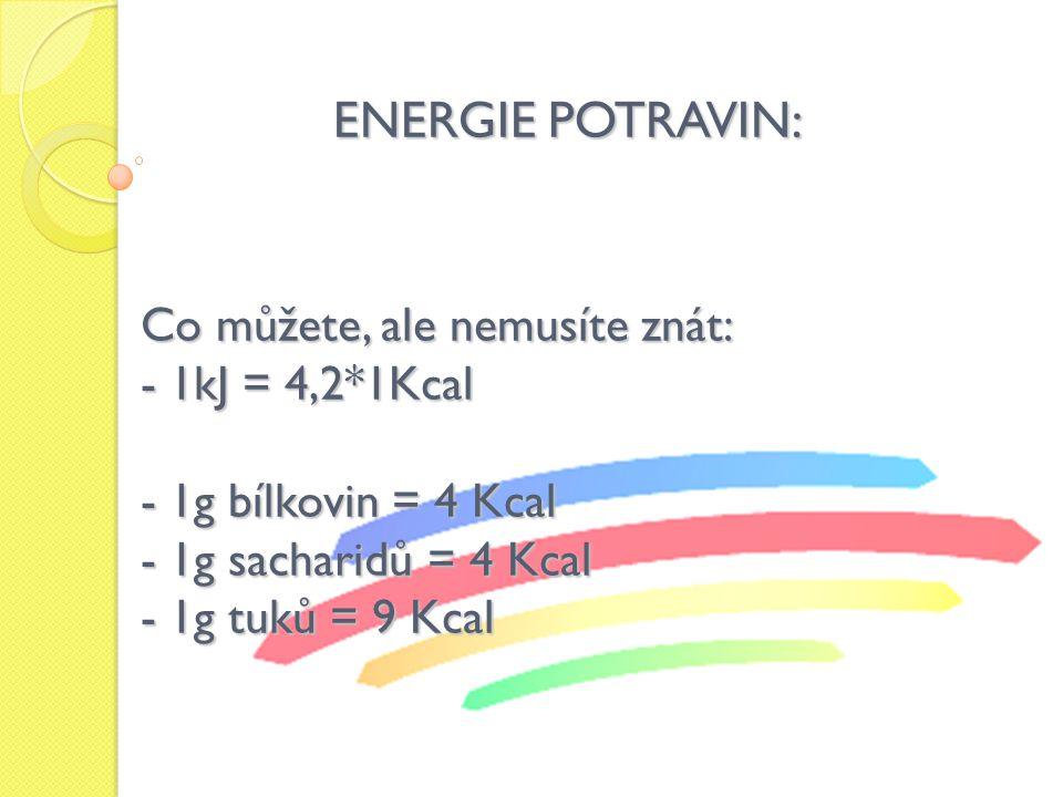 ENERGIE POTRAVIN: Co můžete, ale nemusíte znát: 1kJ = 4,2*1Kcal
