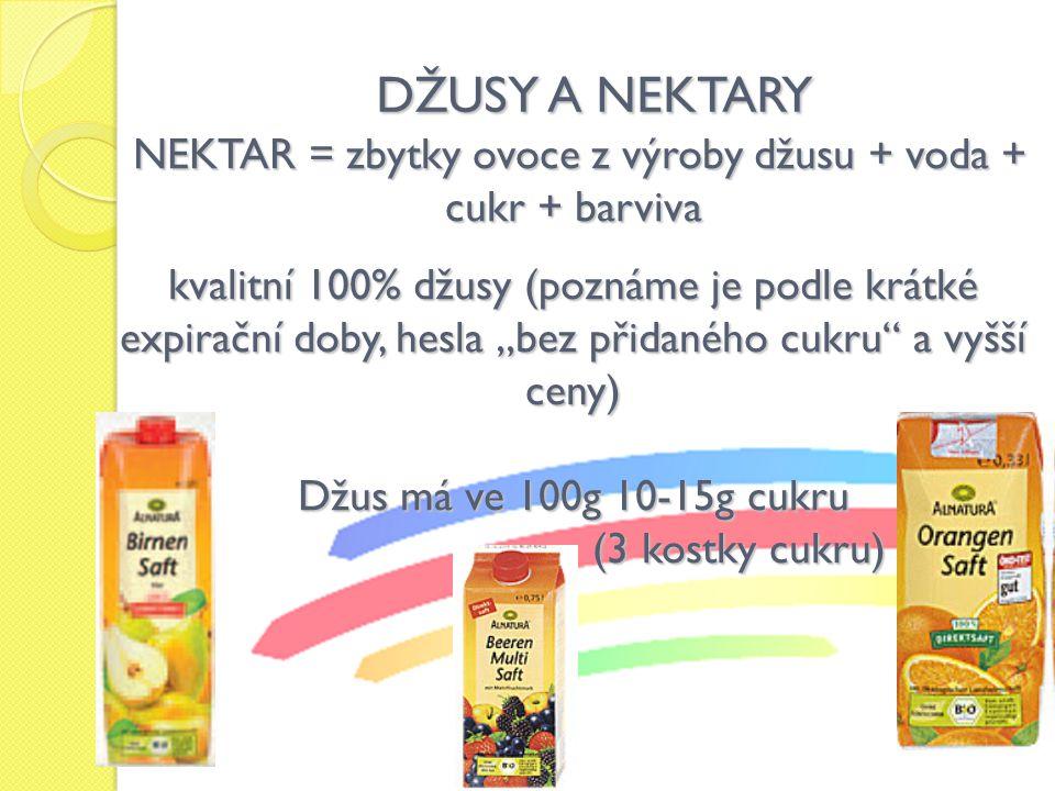 NEKTAR = zbytky ovoce z výroby džusu + voda + cukr + barviva