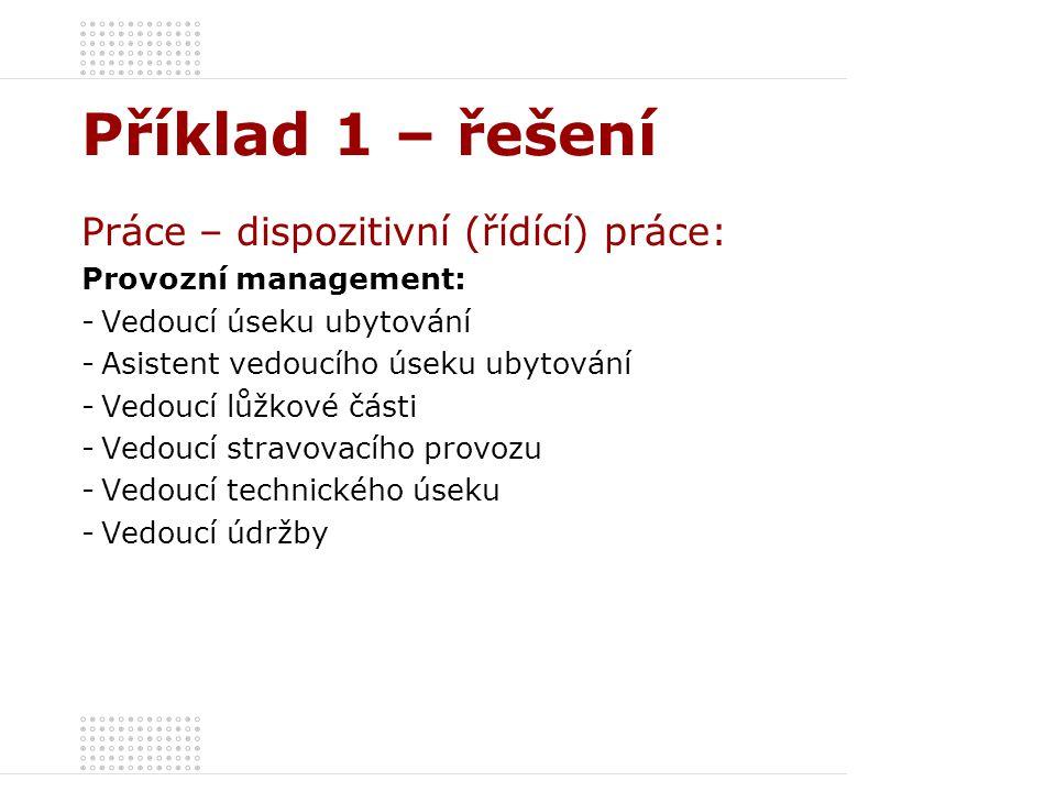 Příklad 1 – řešení Práce – dispozitivní (řídící) práce: