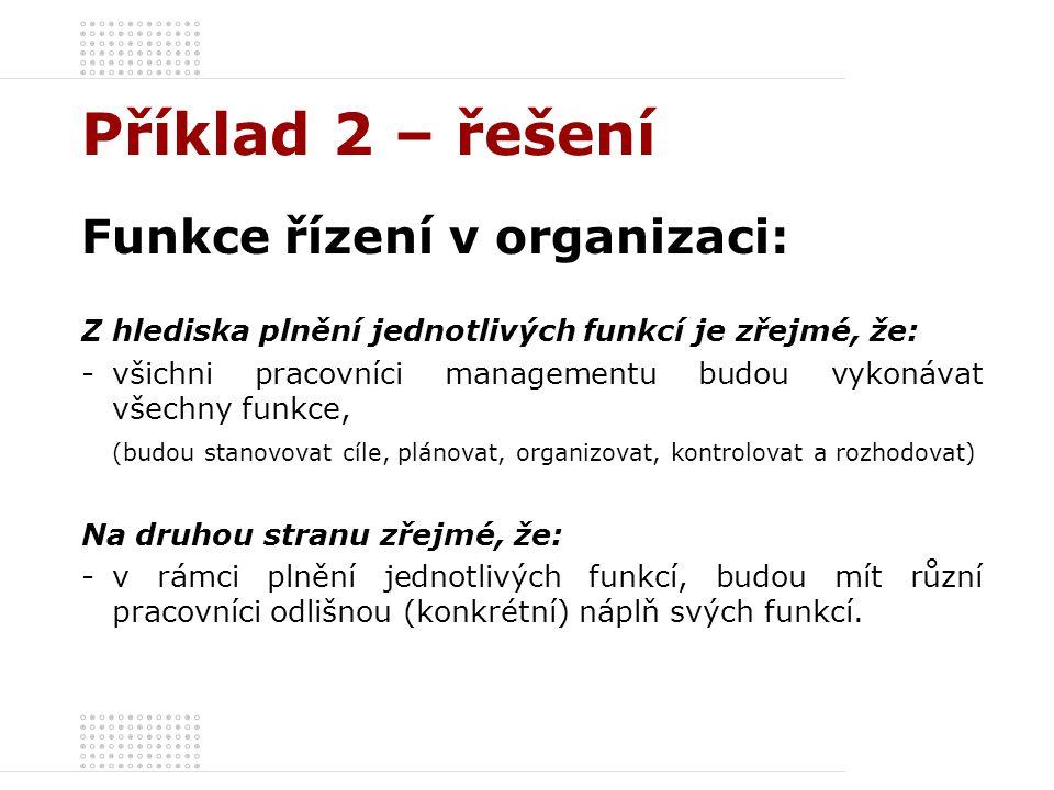 Příklad 2 – řešení Funkce řízení v organizaci: