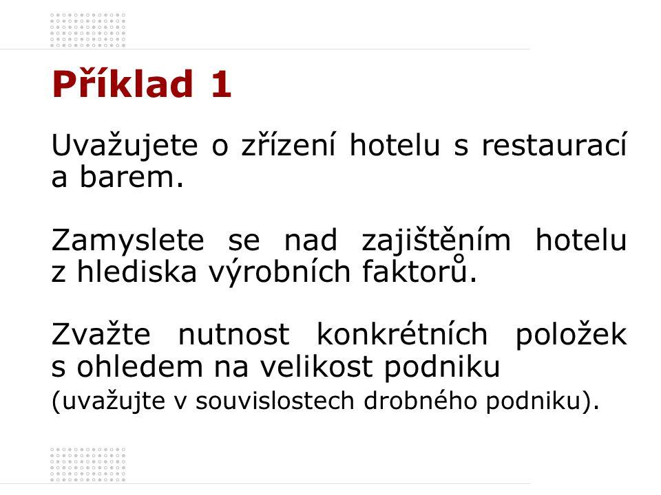 Příklad 1 Uvažujete o zřízení hotelu s restaurací a barem.