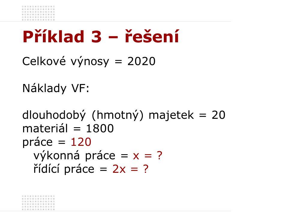 Příklad 3 – řešení Celkové výnosy = 2020 Náklady VF: