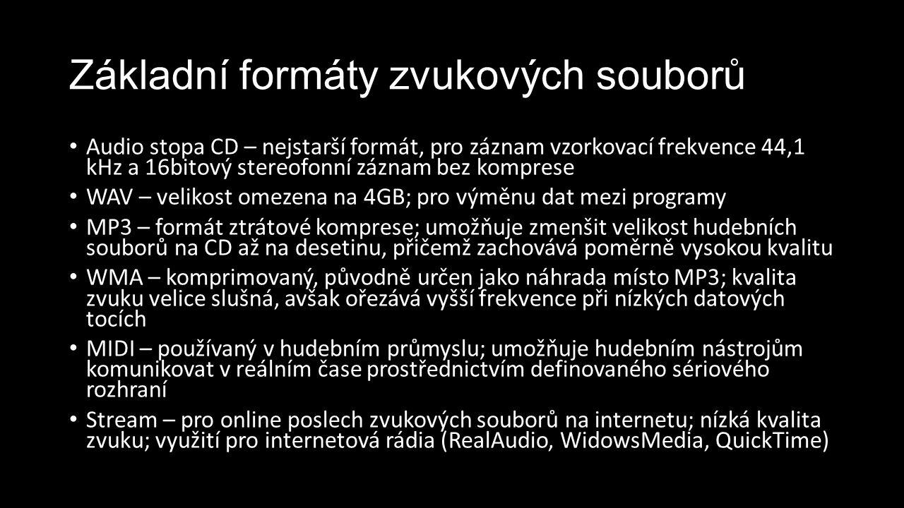 Základní formáty zvukových souborů