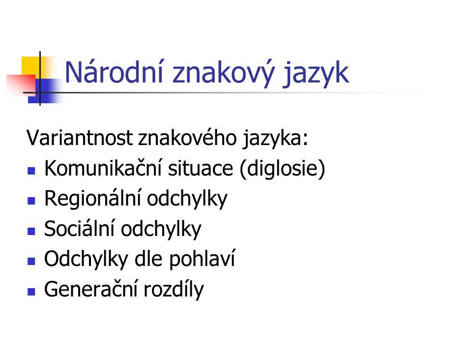 Národní znakový jazyk Variantnost znakového jazyka:
