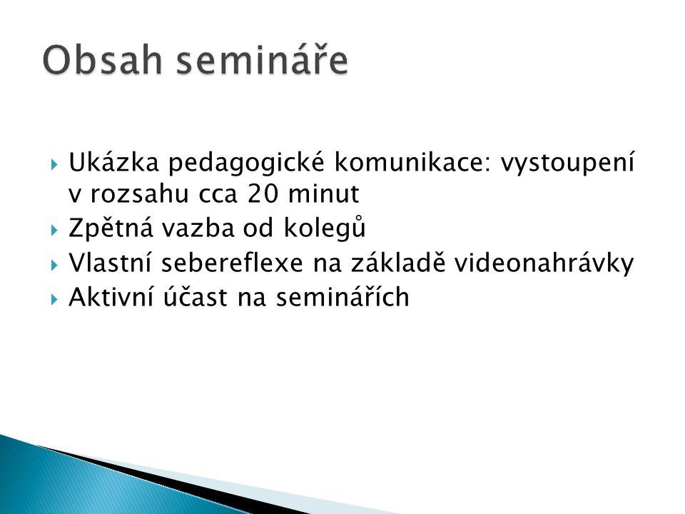 Obsah semináře Ukázka pedagogické komunikace: vystoupení v rozsahu cca 20 minut. Zpětná vazba od kolegů.