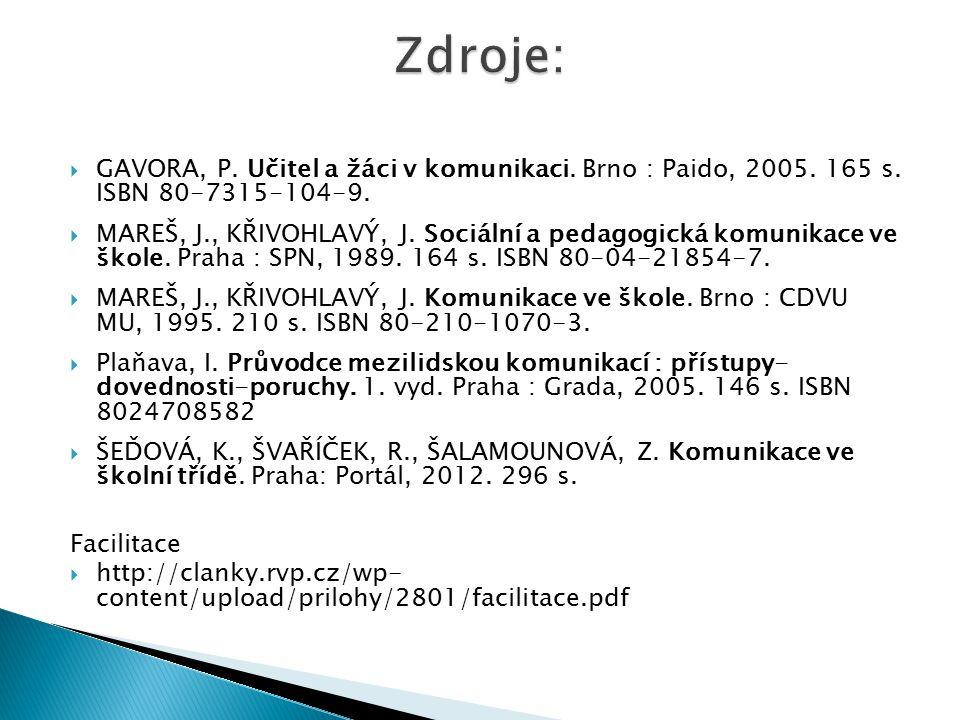 Zdroje: GAVORA, P. Učitel a žáci v komunikaci. Brno : Paido, 2005. 165 s. ISBN 80-7315-104-9.