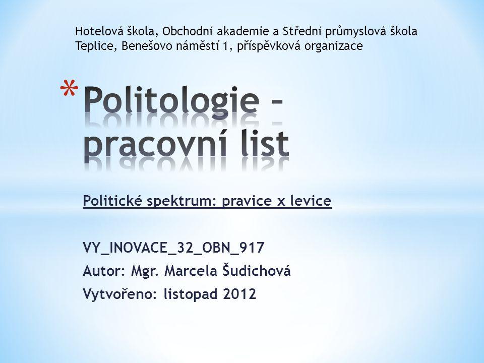 Politologie – pracovní list