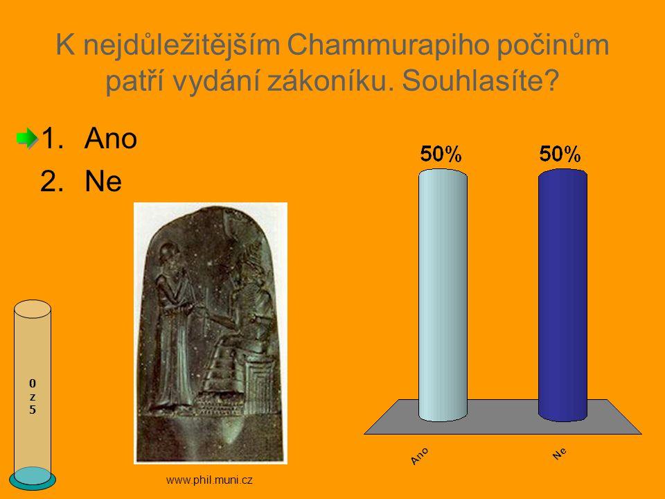 K nejdůležitějším Chammurapiho počinům patří vydání zákoníku