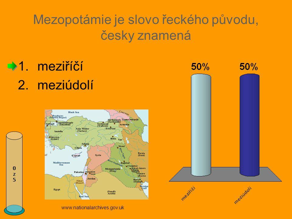 Mezopotámie je slovo řeckého původu, česky znamená