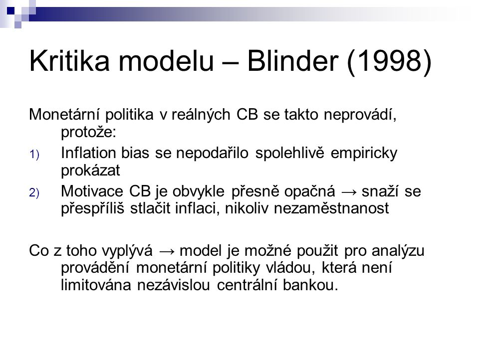 Kritika modelu – Blinder (1998)