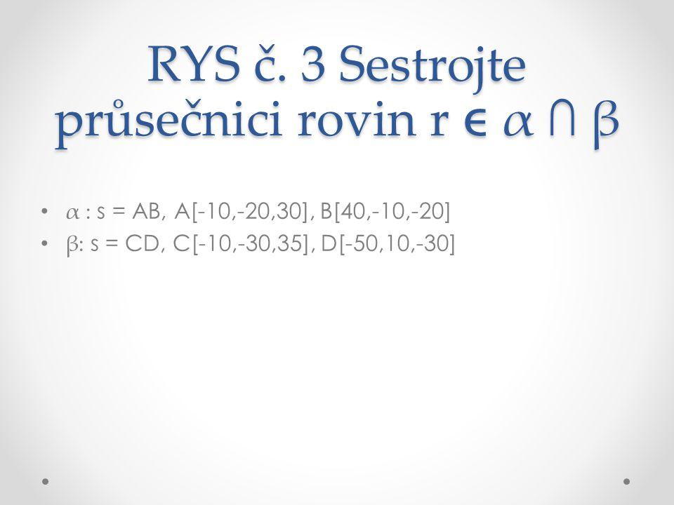 RYS č. 3 Sestrojte průsečnici rovin r  α ∩ β