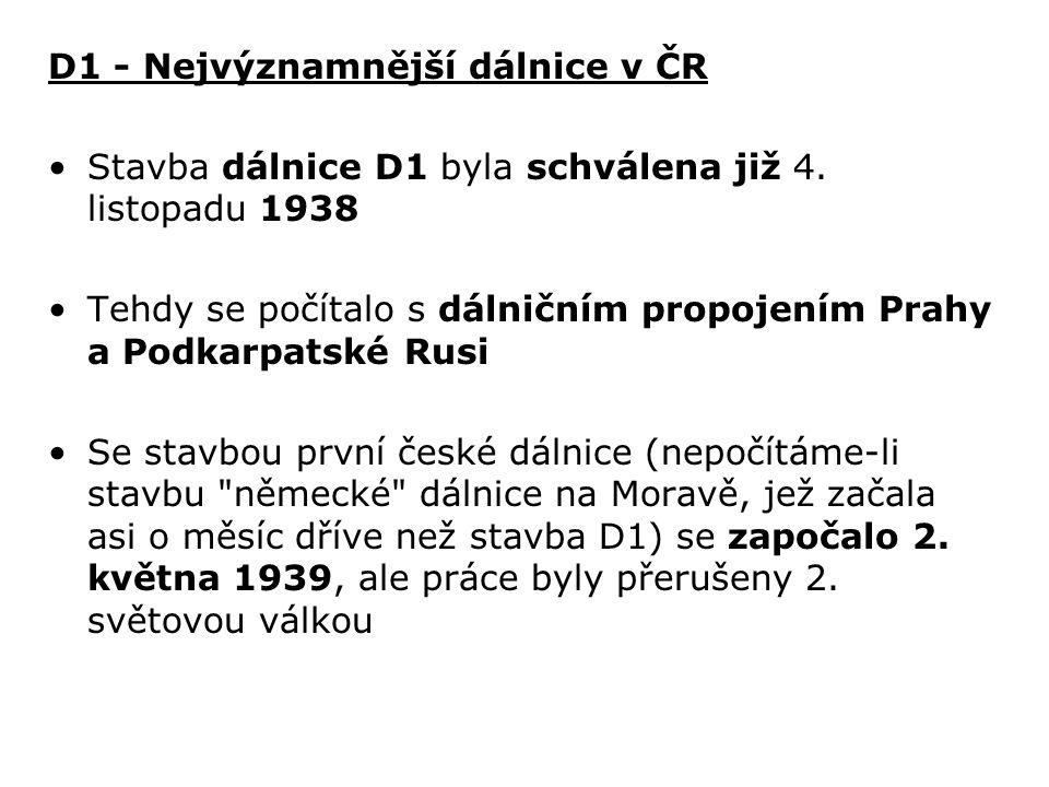 D1 - Nejvýznamnější dálnice v ČR