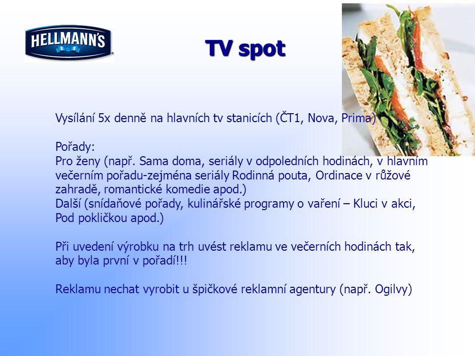 TV spot Vysílání 5x denně na hlavních tv stanicích (ČT1, Nova, Prima)