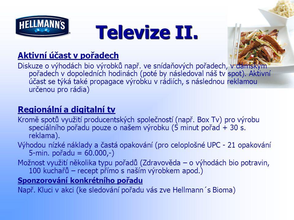 Televize II. Aktivní účast v pořadech Regionální a digitalní tv