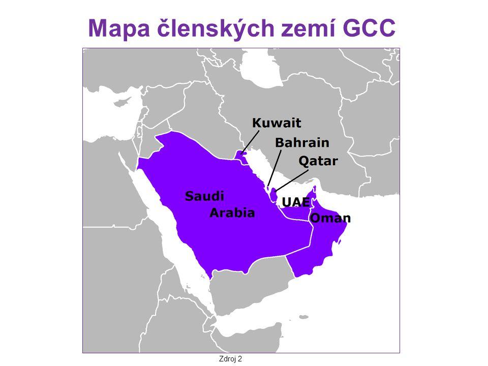 Mapa členských zemí GCC