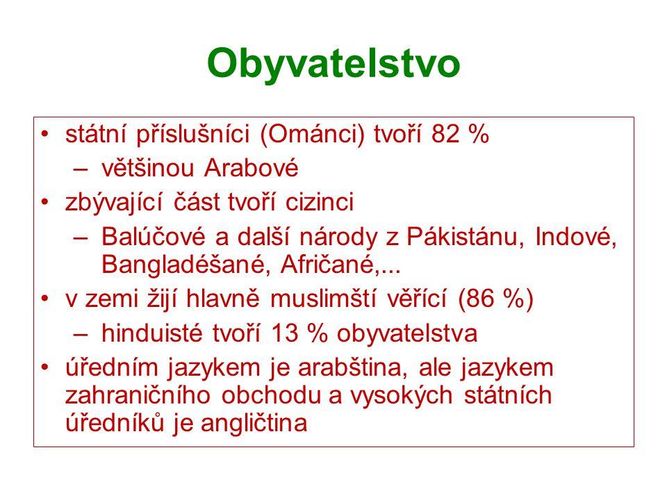 Obyvatelstvo státní příslušníci (Ománci) tvoří 82 % většinou Arabové