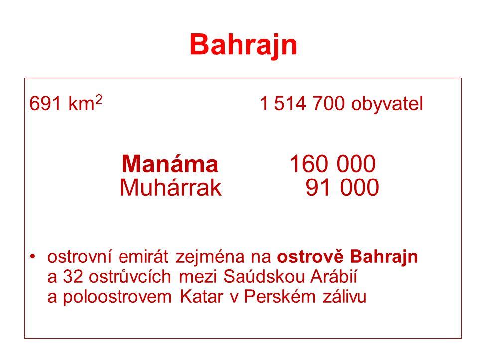Bahrajn Muhárrak 91 000 691 km2 1 514 700 obyvatel