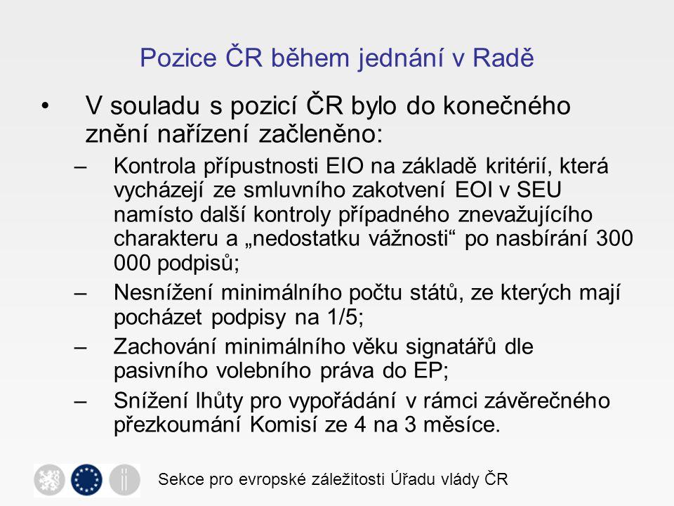 Pozice ČR během jednání v Radě