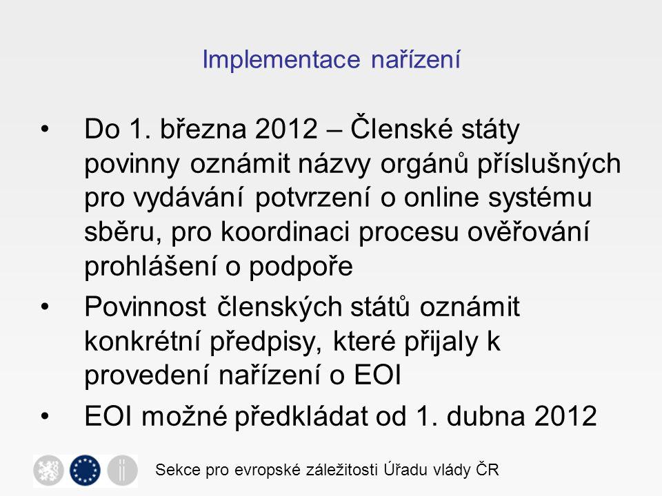 Implementace nařízení