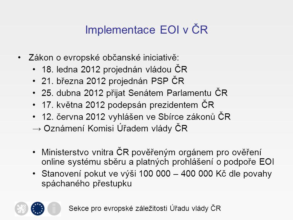 Implementace EOI v ČR Zákon o evropské občanské iniciativě: