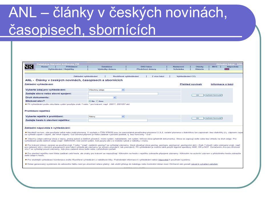 ANL – články v českých novinách, časopisech, sbornících