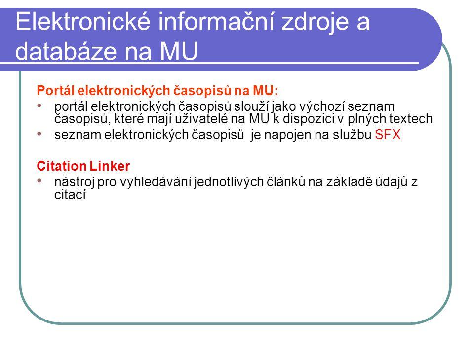 Elektronické informační zdroje a databáze na MU