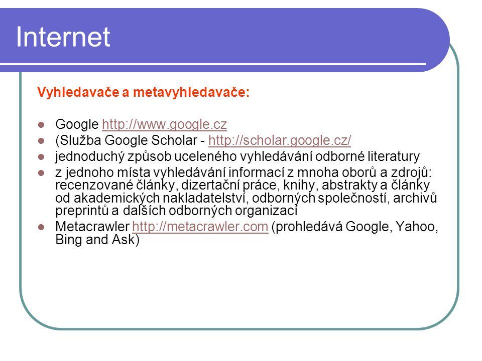 Internet Vyhledavače a metavyhledavače: Google http://www.google.cz
