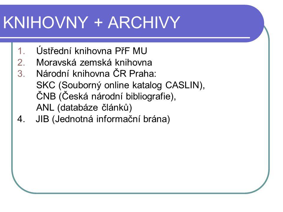 KNIHOVNY + ARCHIVY Ústřední knihovna PřF MU Moravská zemská knihovna