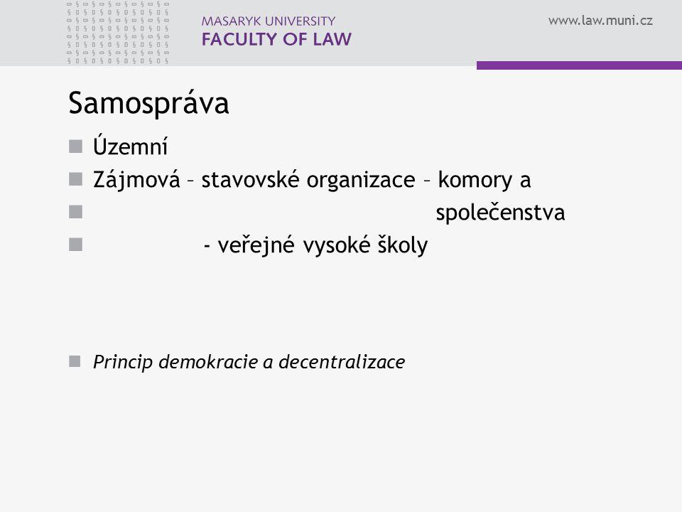 Samospráva Územní Zájmová – stavovské organizace – komory a
