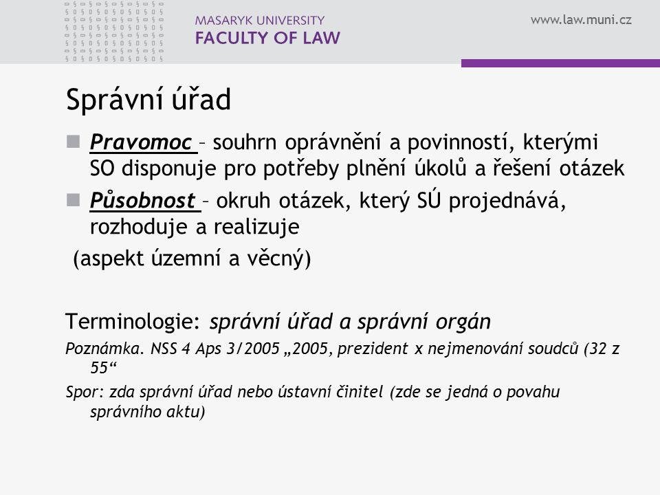 Správní úřad Pravomoc – souhrn oprávnění a povinností, kterými SO disponuje pro potřeby plnění úkolů a řešení otázek.