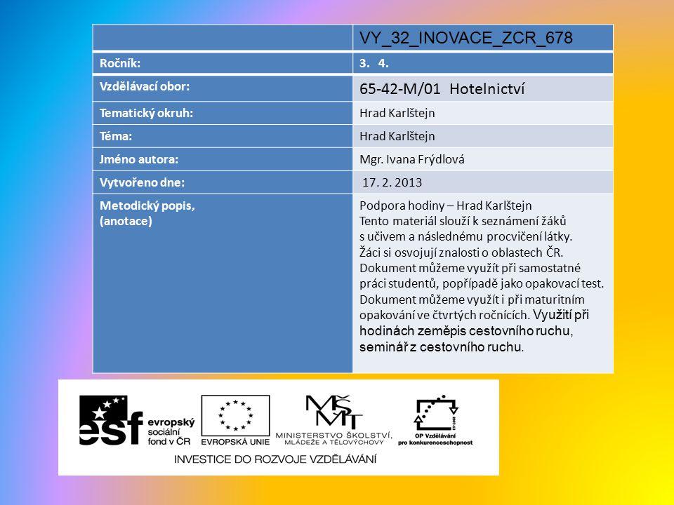 VY_32_INOVACE_ZCR_678 65-42-M/01 Hotelnictví Ročník: 3. 4.