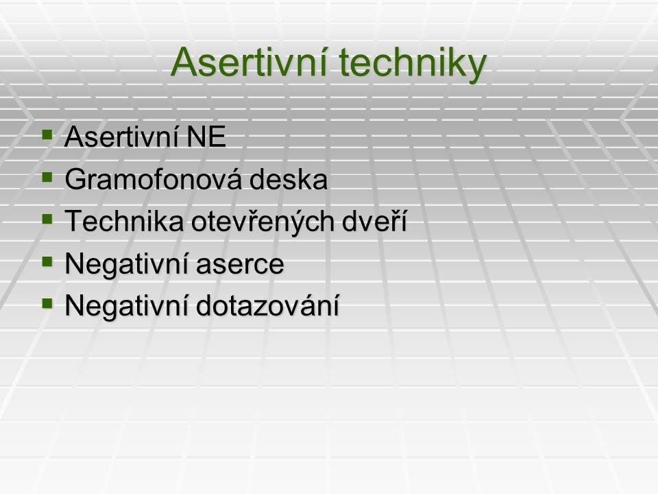 Asertivní techniky Asertivní NE Gramofonová deska