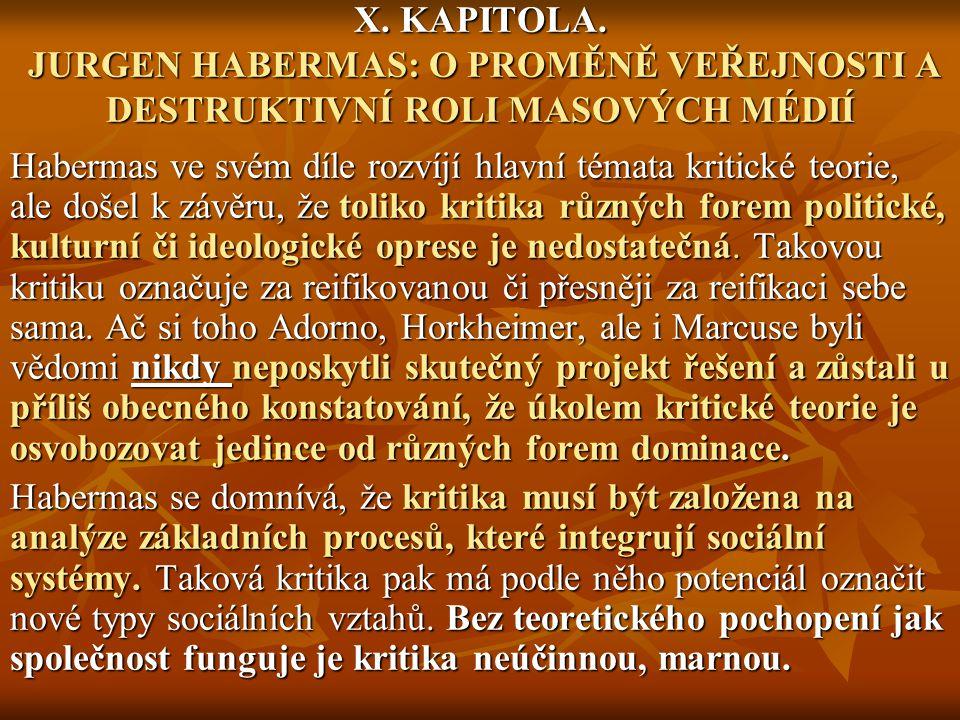 X. KAPITOLA. JURGEN HABERMAS: O PROMĚNĚ VEŘEJNOSTI A DESTRUKTIVNÍ ROLI MASOVÝCH MÉDIÍ