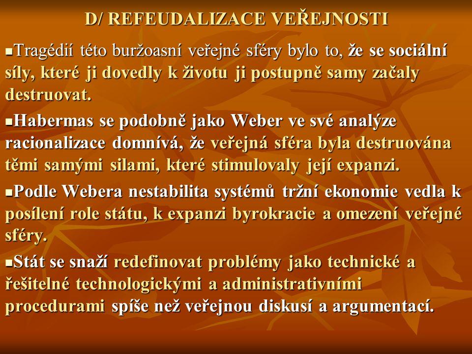 D/ REFEUDALIZACE VEŘEJNOSTI