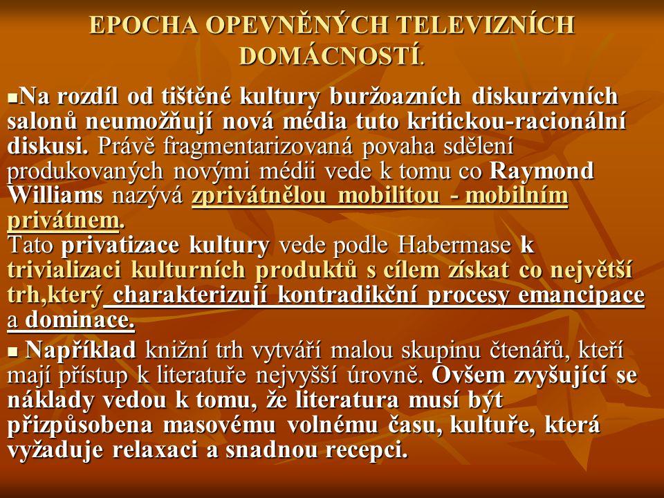 EPOCHA OPEVNĚNÝCH TELEVIZNÍCH DOMÁCNOSTÍ.