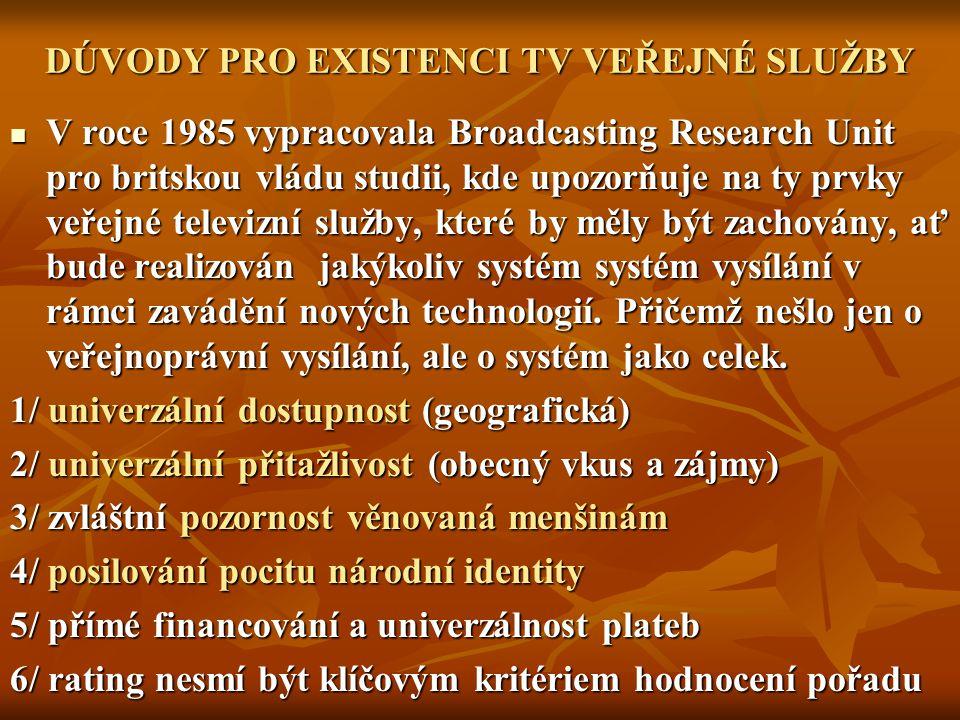 DÚVODY PRO EXISTENCI TV VEŘEJNÉ SLUŽBY
