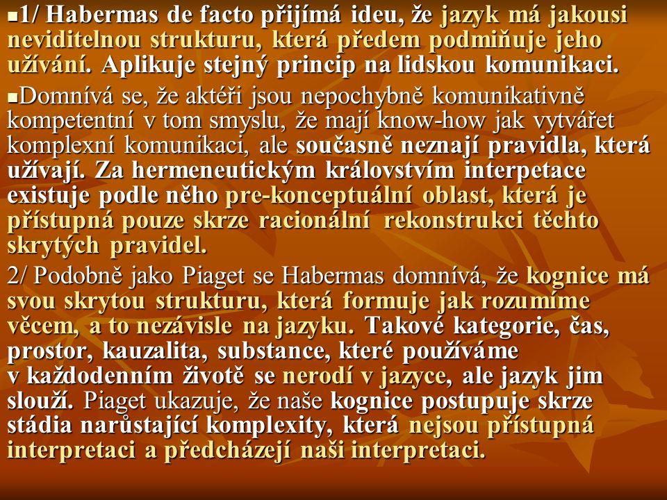 1/ Habermas de facto přijímá ideu, že jazyk má jakousi neviditelnou strukturu, která předem podmiňuje jeho užívání. Aplikuje stejný princip na lidskou komunikaci.