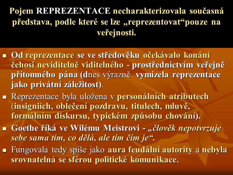 """Pojem REPREZENTACE necharakterizovala současná představa, podle které se lze """"reprezentovat pouze na veřejnosti."""