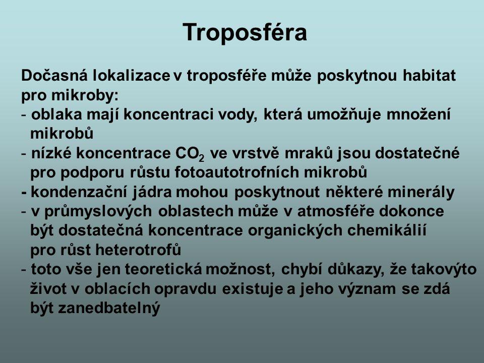 Troposféra Dočasná lokalizace v troposféře může poskytnou habitat