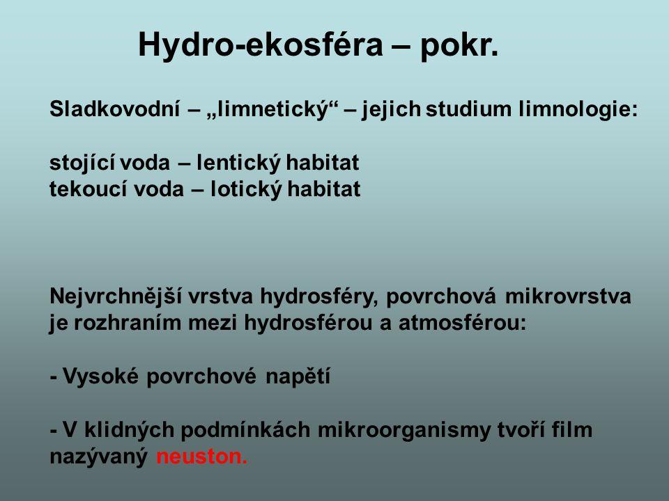 """Hydro-ekosféra – pokr. Sladkovodní – """"limnetický – jejich studium limnologie: stojící voda – lentický habitat."""