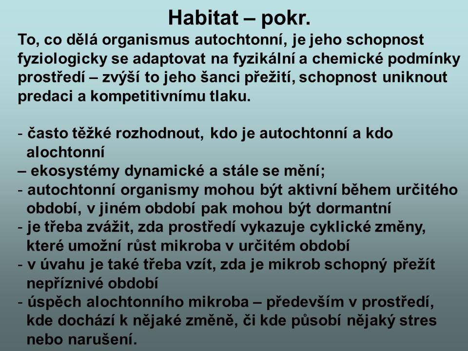 Habitat – pokr. To, co dělá organismus autochtonní, je jeho schopnost