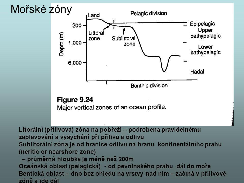 Mořské zóny Litorální (přílivová) zóna na pobřeží – podrobena pravidelnému zaplavování a vysychání při přílivu a odlivu.