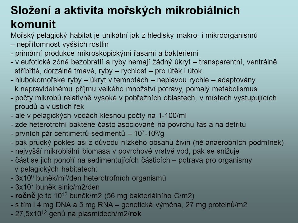 Složení a aktivita mořských mikrobiálních komunit