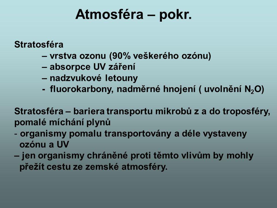 Atmosféra – pokr. Stratosféra – vrstva ozonu (90% veškerého ozónu)