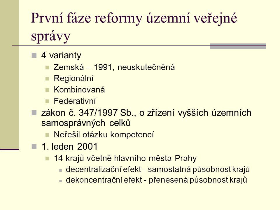 První fáze reformy územní veřejné správy