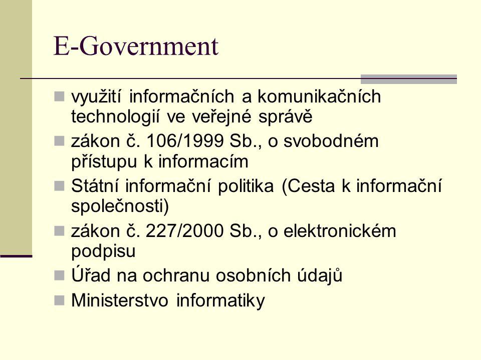 E-Government využití informačních a komunikačních technologií ve veřejné správě. zákon č. 106/1999 Sb., o svobodném přístupu k informacím.